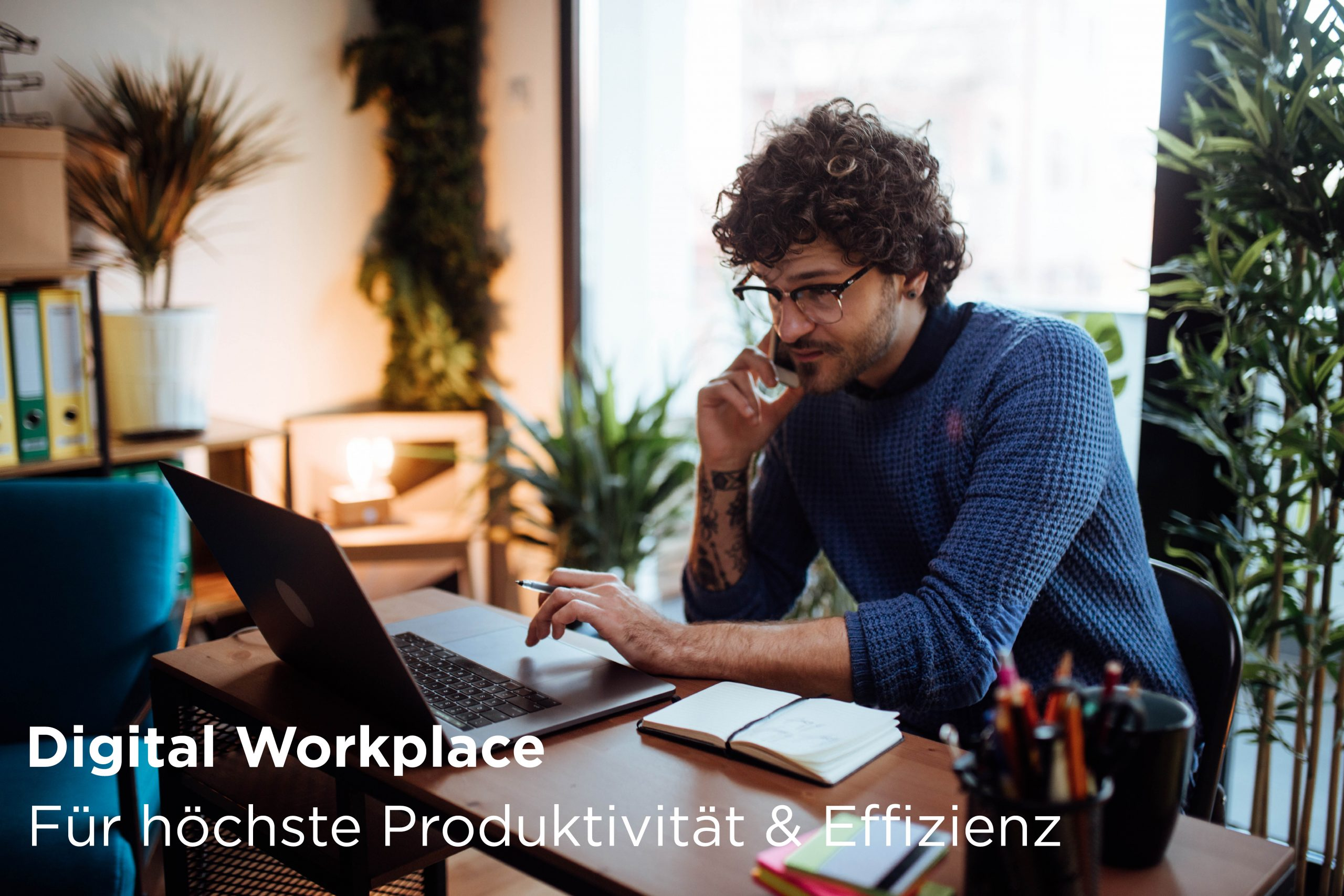 Hybrid Working. Digital Workplace. Man working from home.
